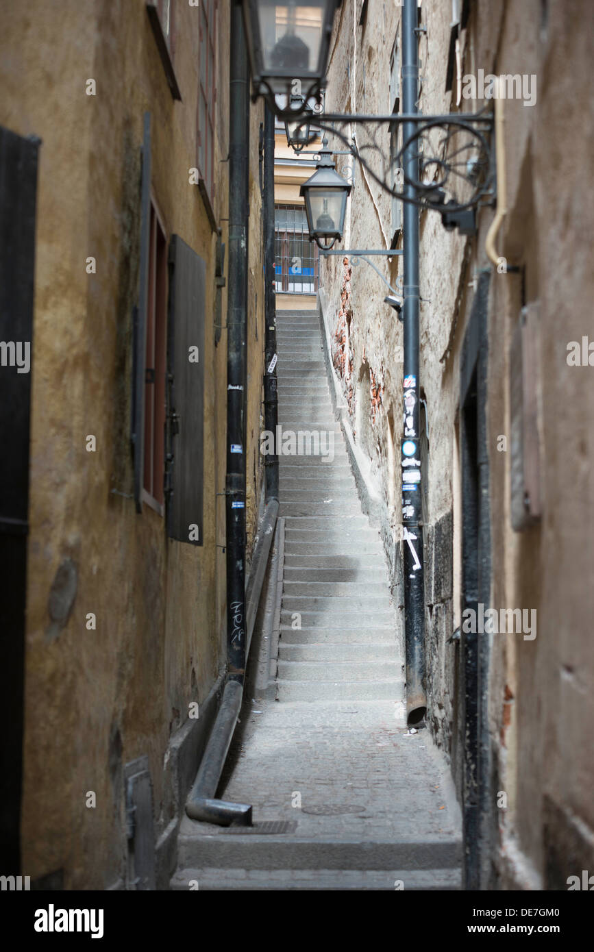 Narrow Stairs In An Alleyway In Gamla Stan In Stockholm Stock Photo