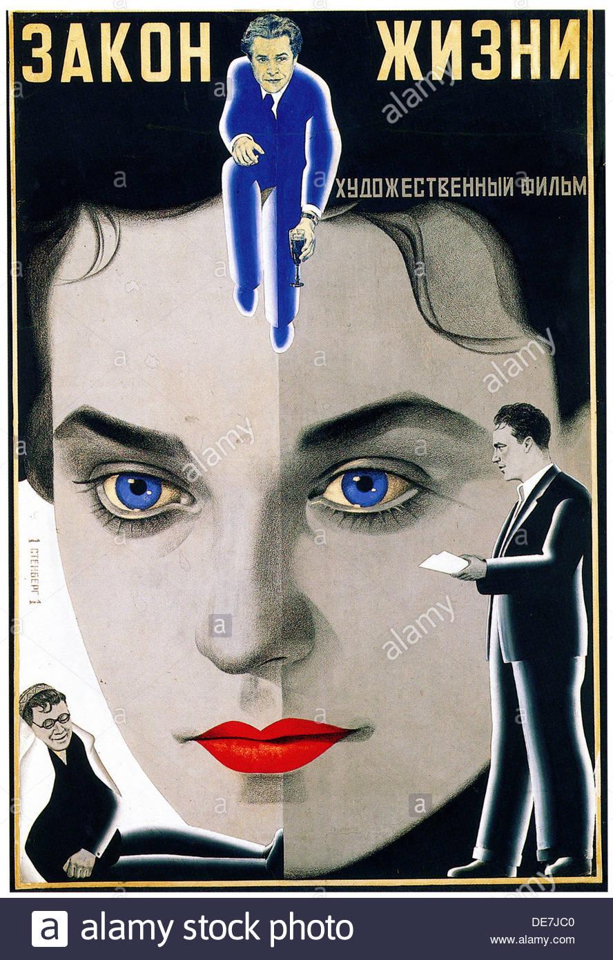 Movie poster The Law of Life, 1939-1940. Artist: Stenberg, Georgi Avgustovich (1900-1933) - Stock Image