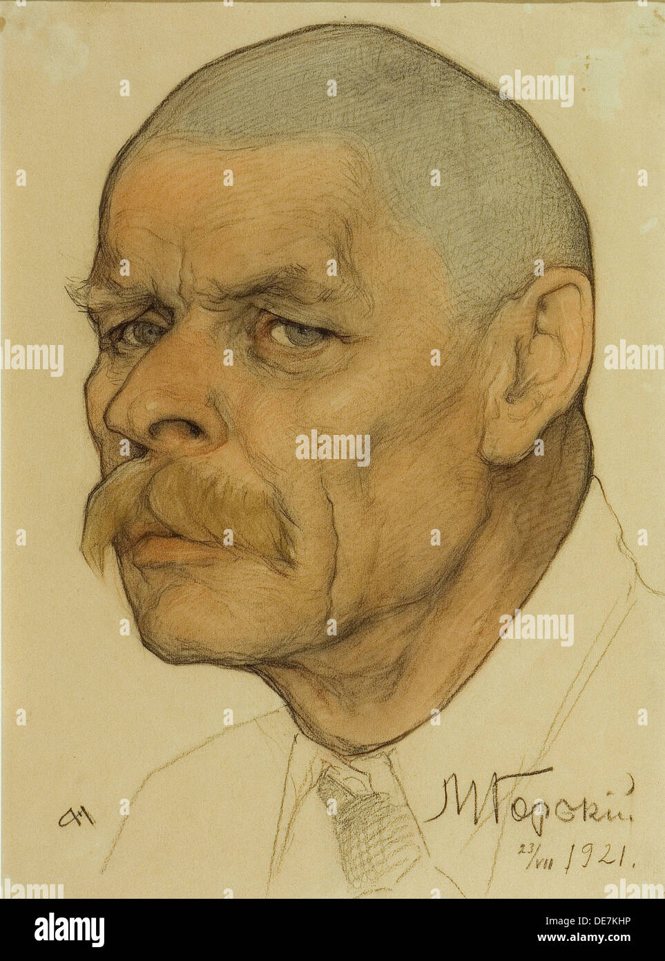 Portrait of the author Maxim Gorky (1868-1939), 1921. Artist: Andreev, Nikolai Andreevich (1873-1932) - Stock Image