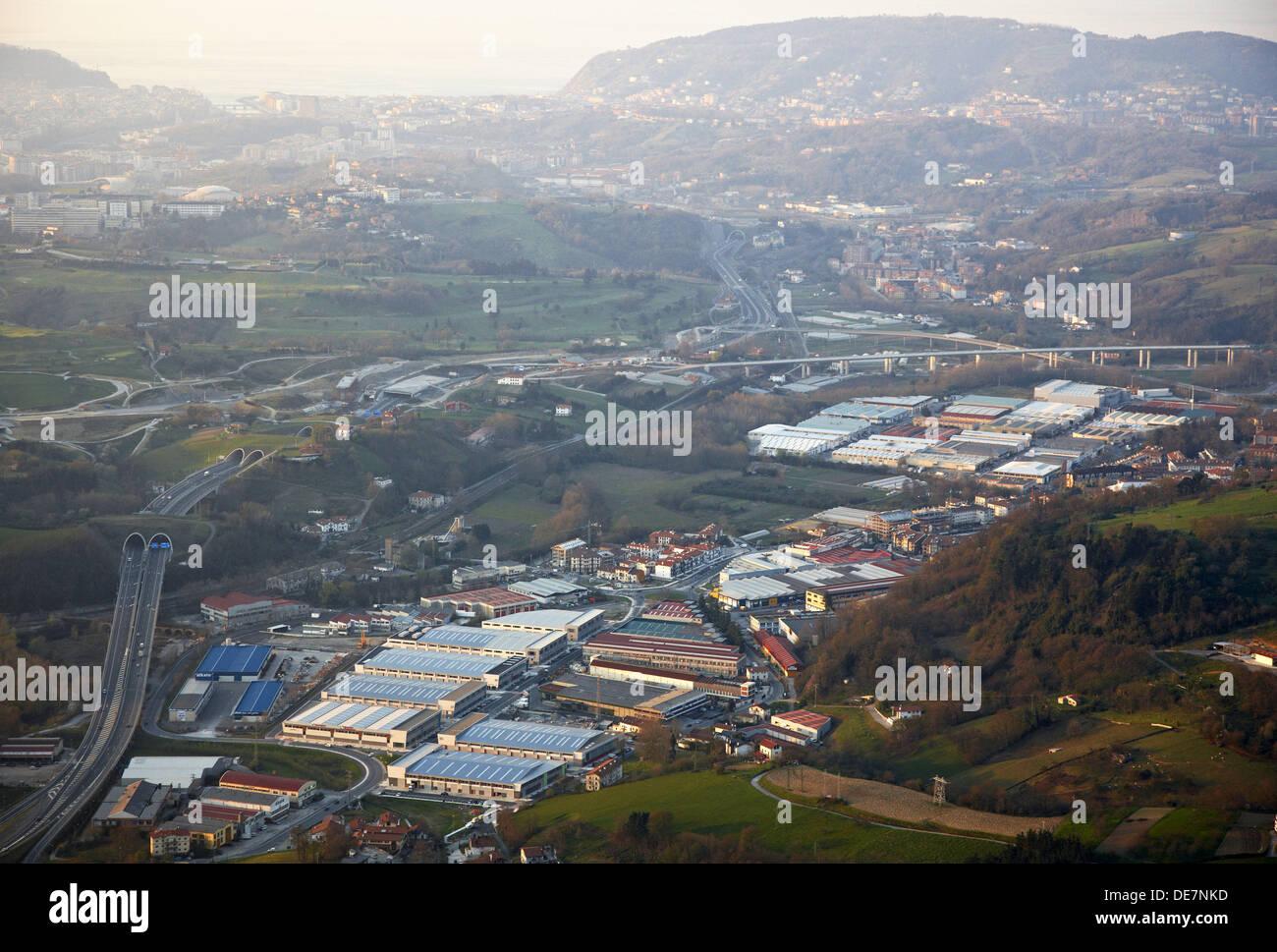 Industrial areas in Ergobia and Astigarraga, near San Sebastián. Donostia, Gipuzkoa, Basque Country, Spain - Stock Image