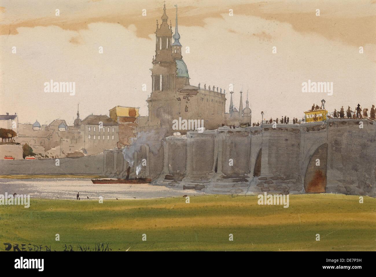 View of Dresden, 1898. Artist: Benois, Albert Nikolayevich (1852-1936) - Stock Image
