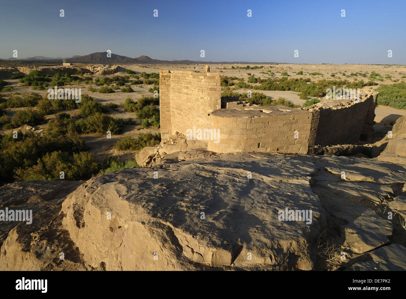 southern watergate of the antique dam of Marib on the Incense Route, Yemen, Arabia, West asia - Stock Image