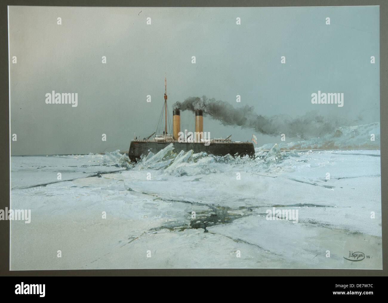 Icebreaker Yermak, 1898. Artist: Karasin, Nikolai Nikolayevich (1842-1908) - Stock Image