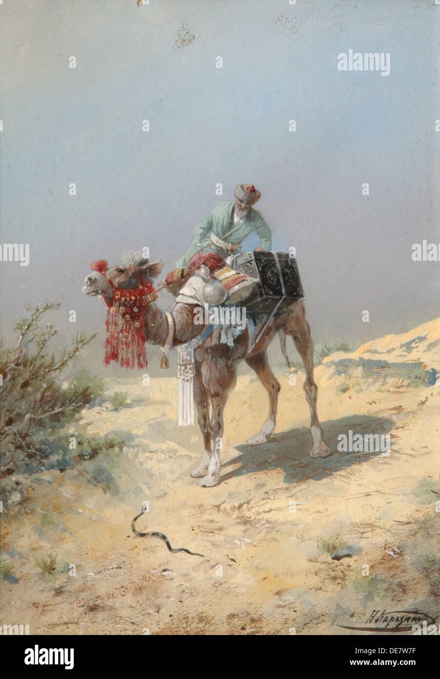 In the Desert. Artist: Karasin, Nikolai Nikolayevich (1842-1908) - Stock Image