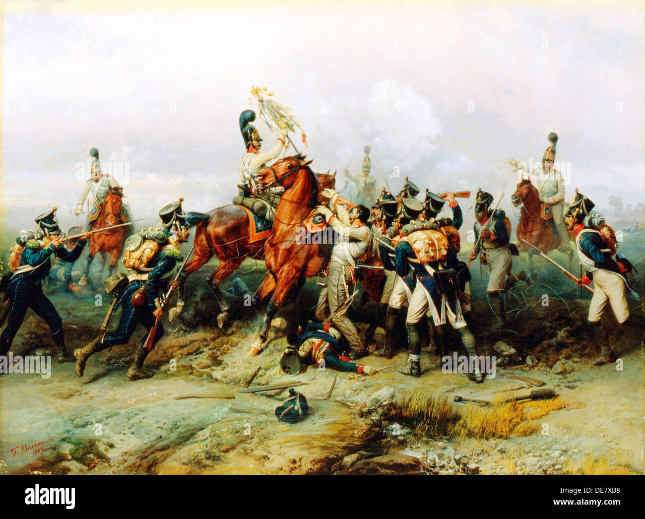 The Exploit of the Mounted regiment in the Battle of Austerlitz', 1884. - Stock Image