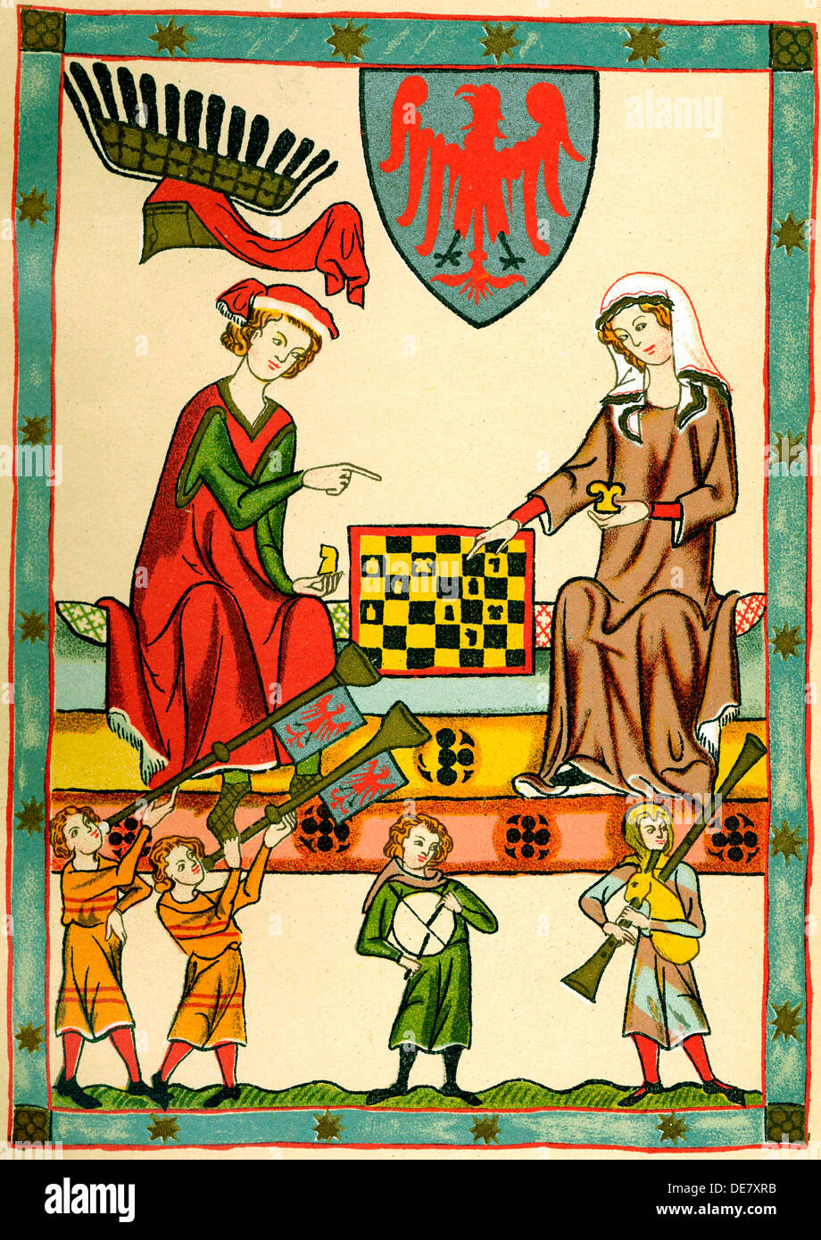Margrave Otto IV of Brandenburg Playing Chess (From the Codex Manesse), c1300. - Stock Image