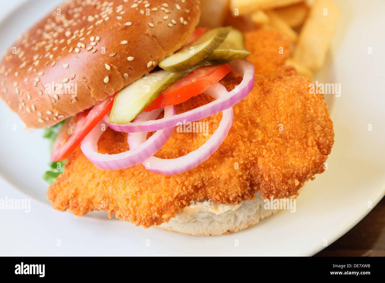 Chicken Schnitzel Burger Stock Photo Alamy