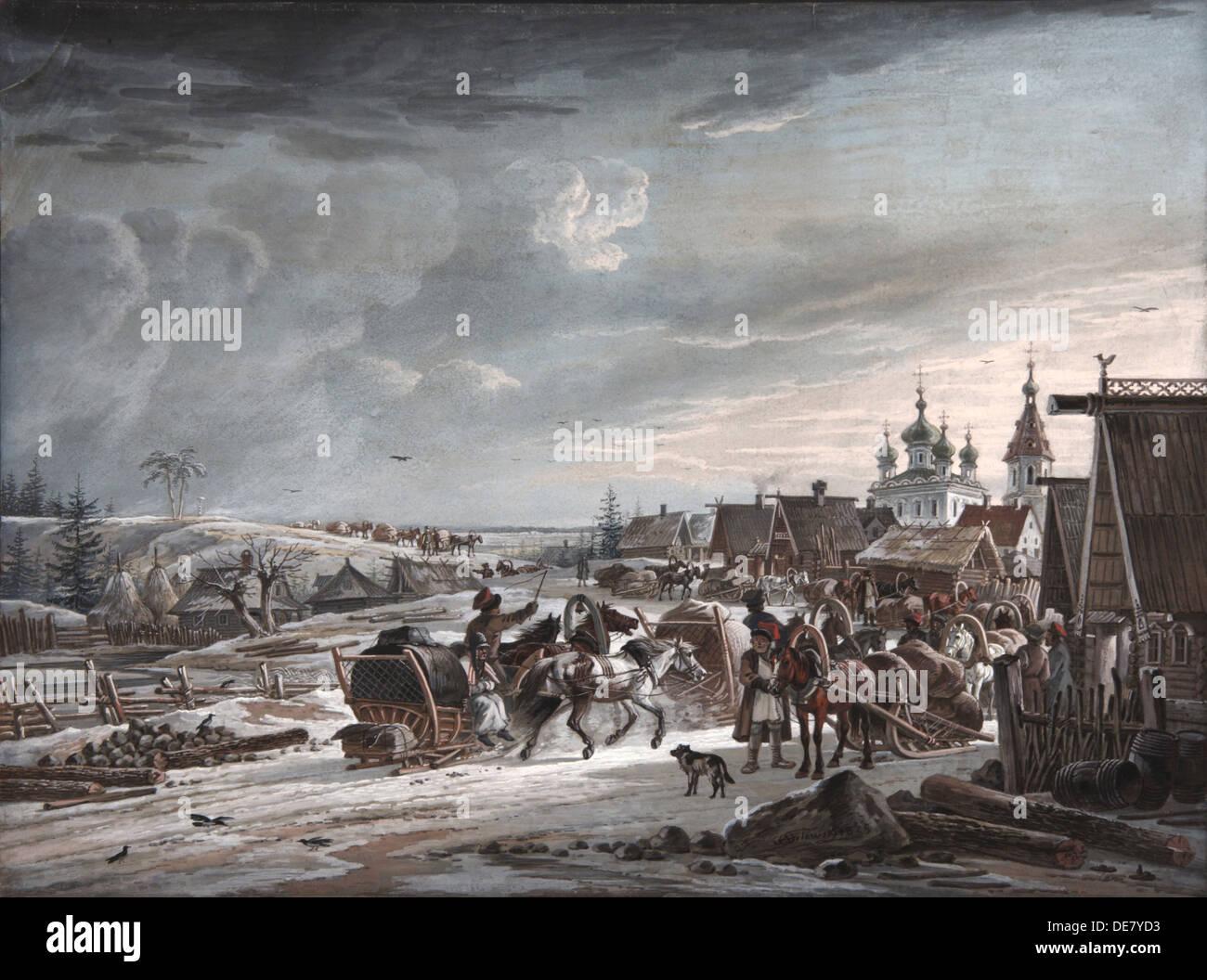 Winter, 1825. Artist: Orlowski, Alexander Osipovich (1777-1832) Stock Photo