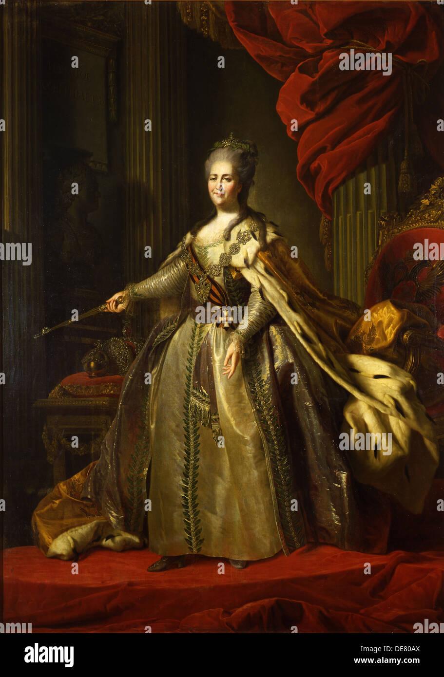 Portrait of Empress Catherine II (1729-1796), 1775-1780. Artist: Rokotov, Fyodor Stepanovich (1735-1808) - Stock Image