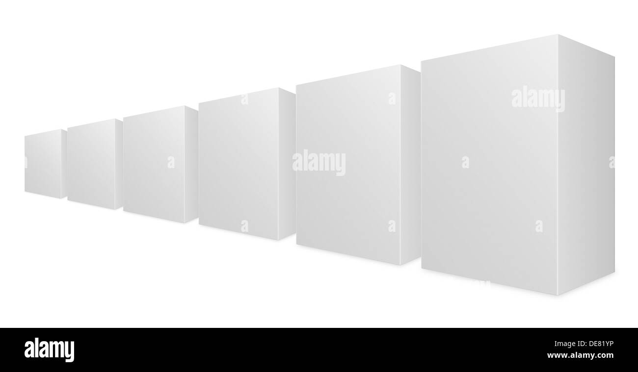 white boxes on white background with clipping path - Stock Image