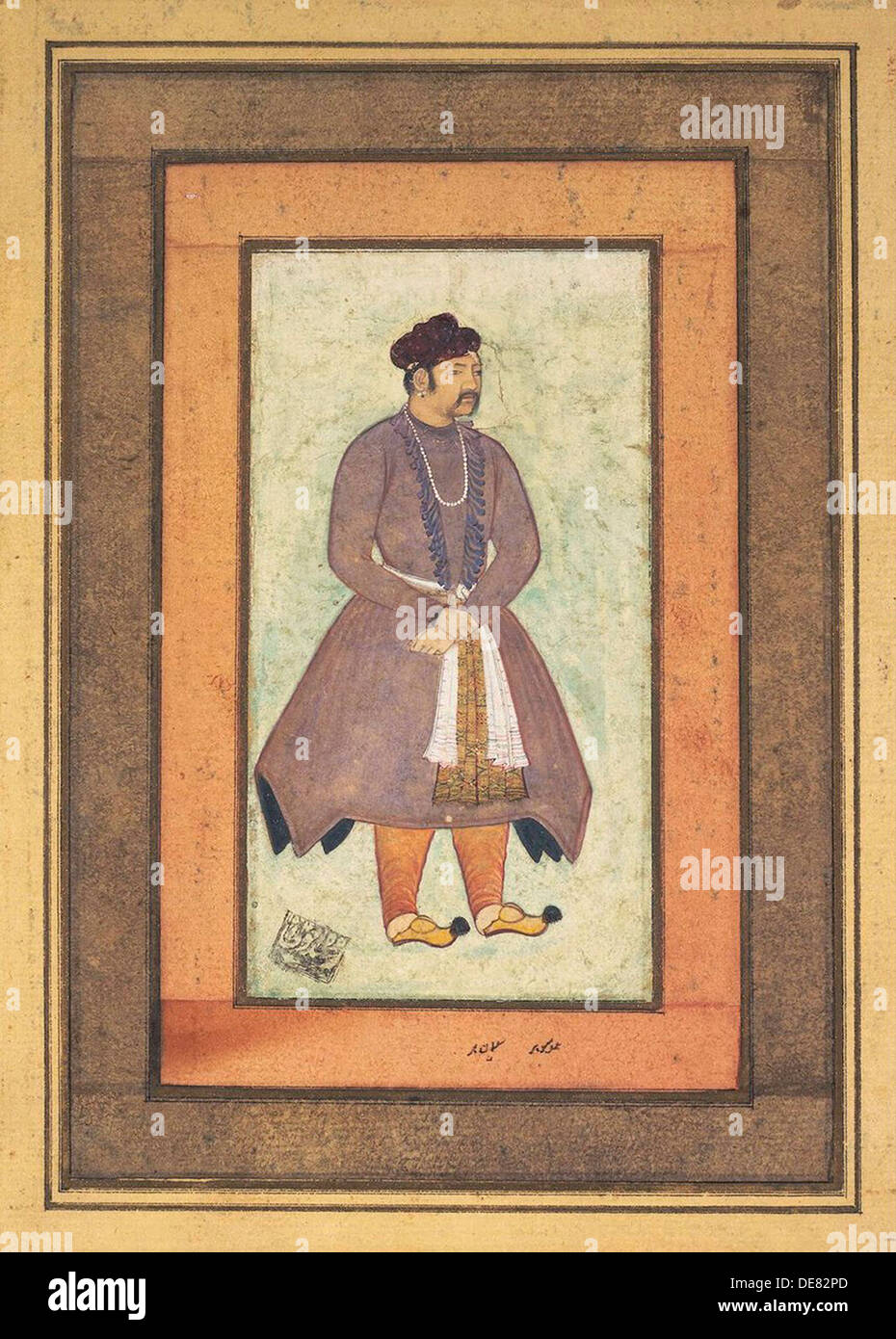 Portrait of Akbar the Great (1542-1605), Mughal Emperor, second half of the 16th century. - Stock Image