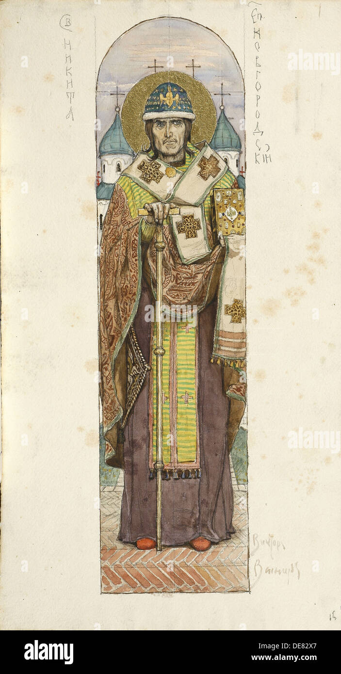 Saint Nikita, Bishop of Novgorod (Study for frescos in the St Vladimir's Cathedral of Kiev), 1884-1889. Artist: Vasnetsov, Vikto - Stock Image