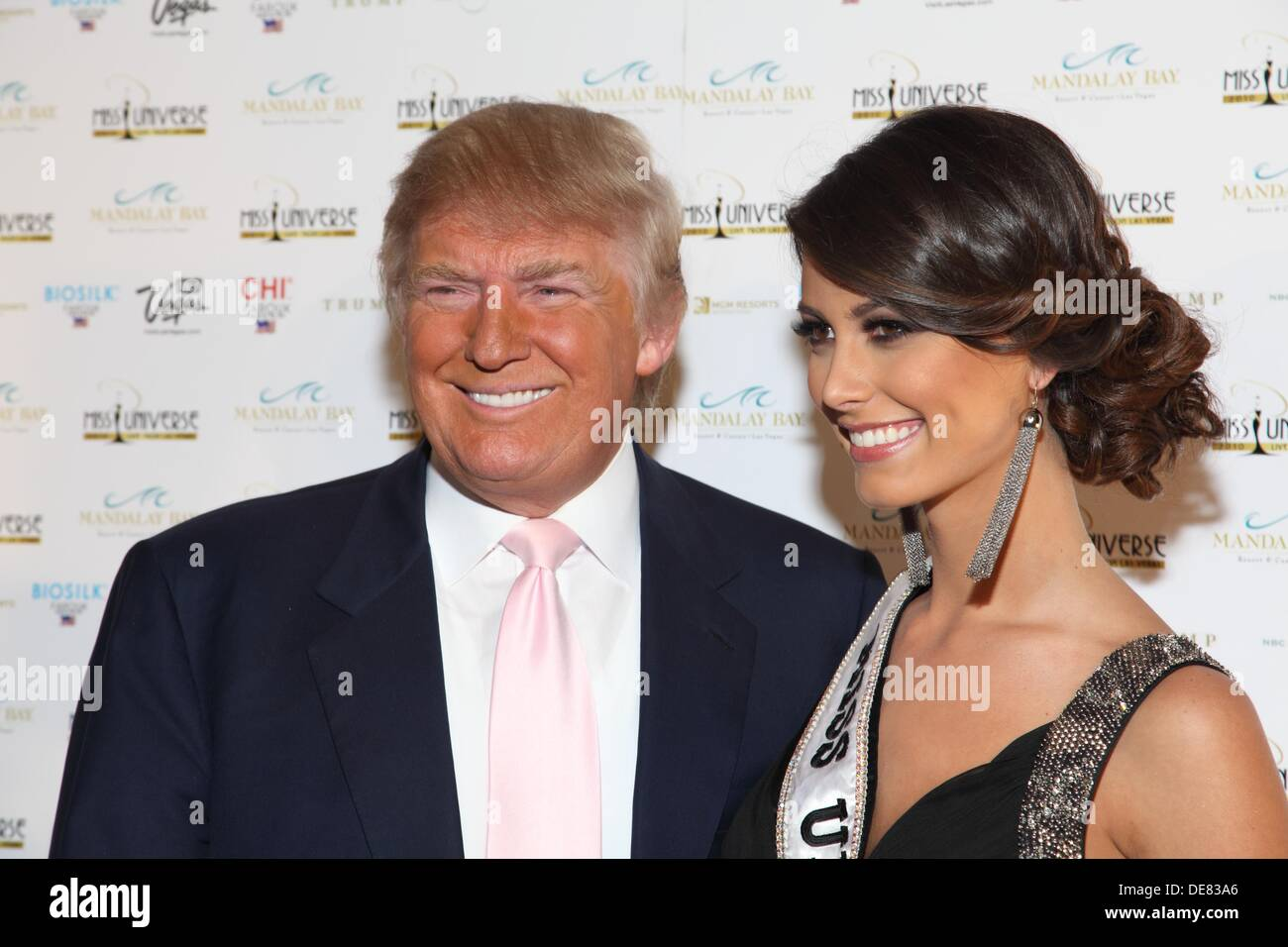 The American tycoon Donald Trump and Miss Universe 2009, Venezuelan Stefania Fernandez on the red carpet Miss Universe 2010 Las - Stock Image