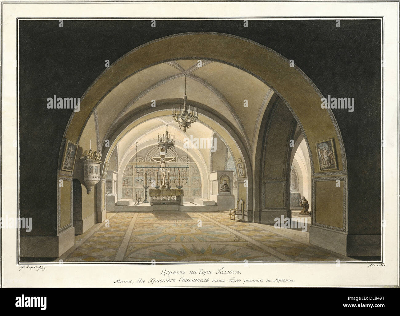 Interior of the Church of the Holy Sepulchre at the site of Golgotha, 1821. Artist: Vorobyev, Maxim Nikiphorovich (1787-1855) - Stock Image