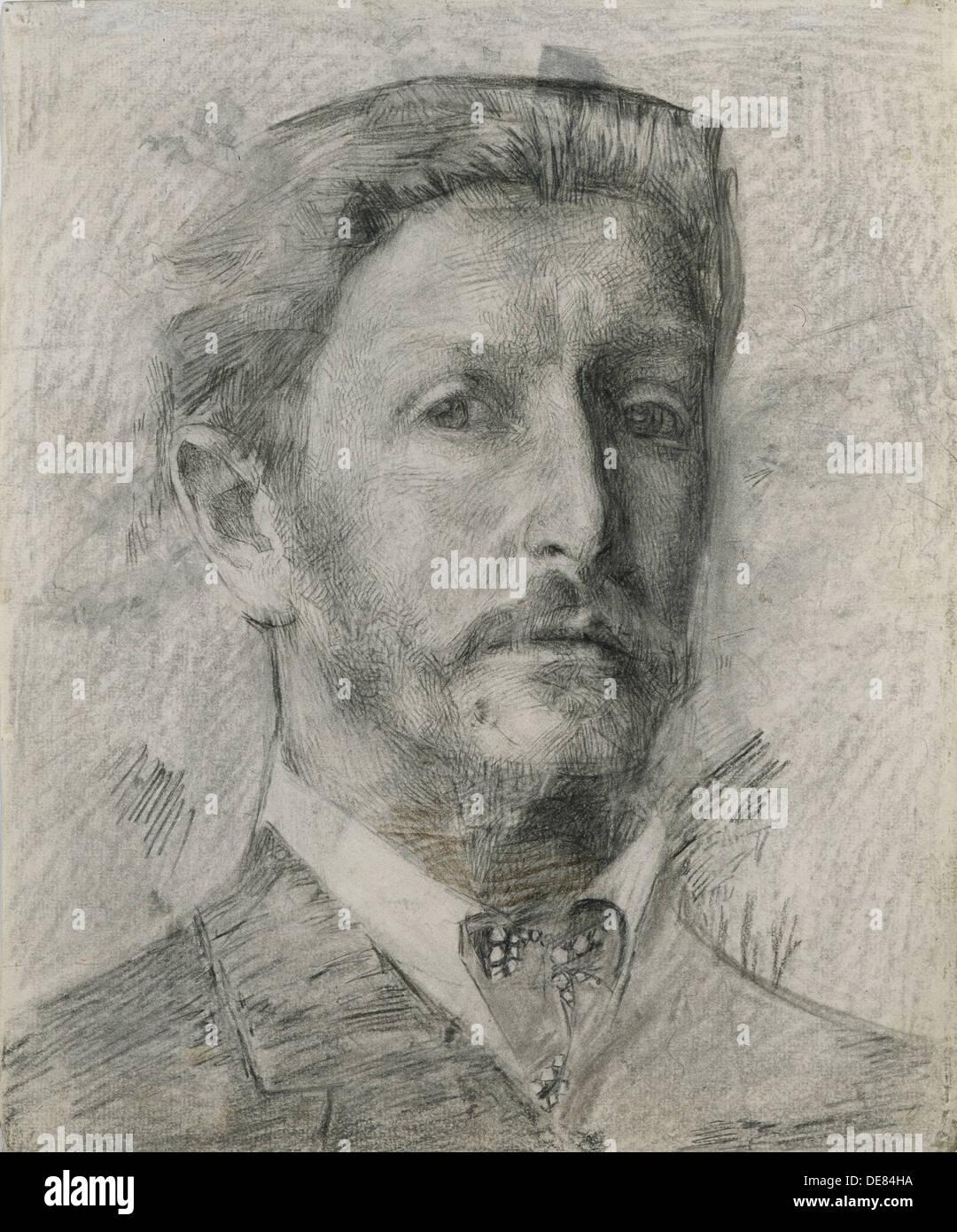 Self-Portrait, 1904-1905. Artist: Vrubel, Mikhail Alexandrovich (1856-1910) - Stock Image