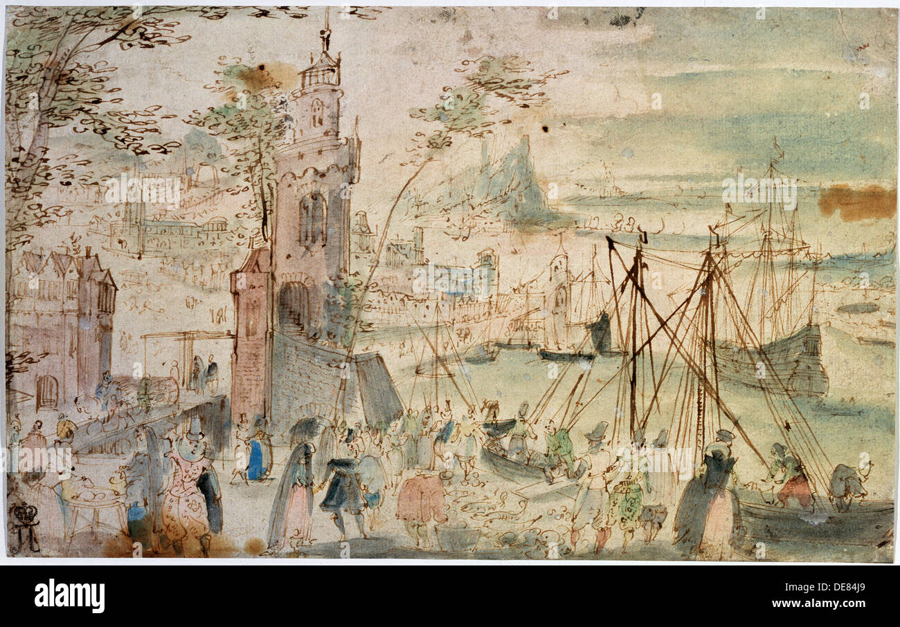 'View of the Port', early 17th century. Artist: Louis de Caullery - Stock Image