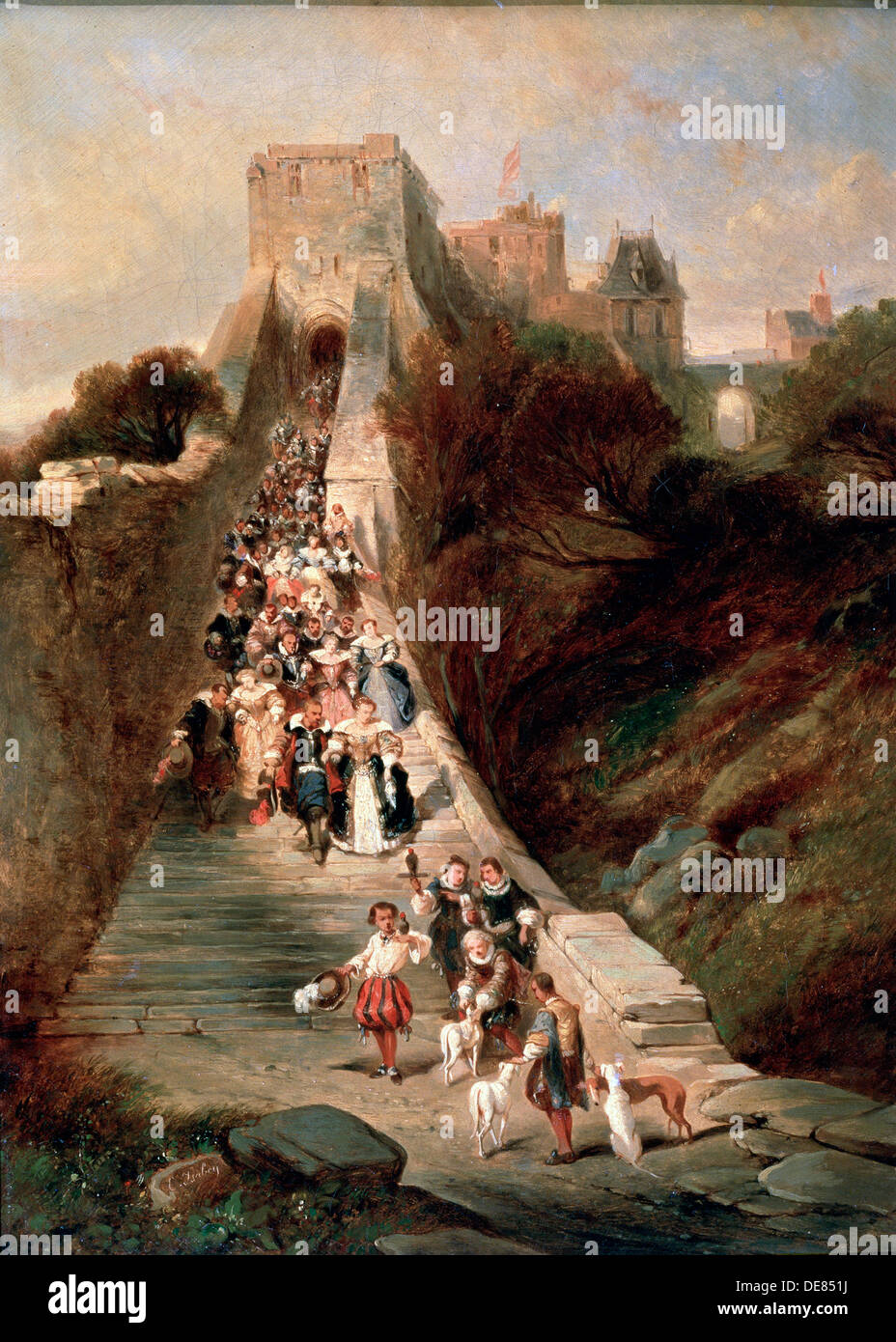 'Leaving the Castle', 19th century. Artist: Eugene Isabey - Stock Image