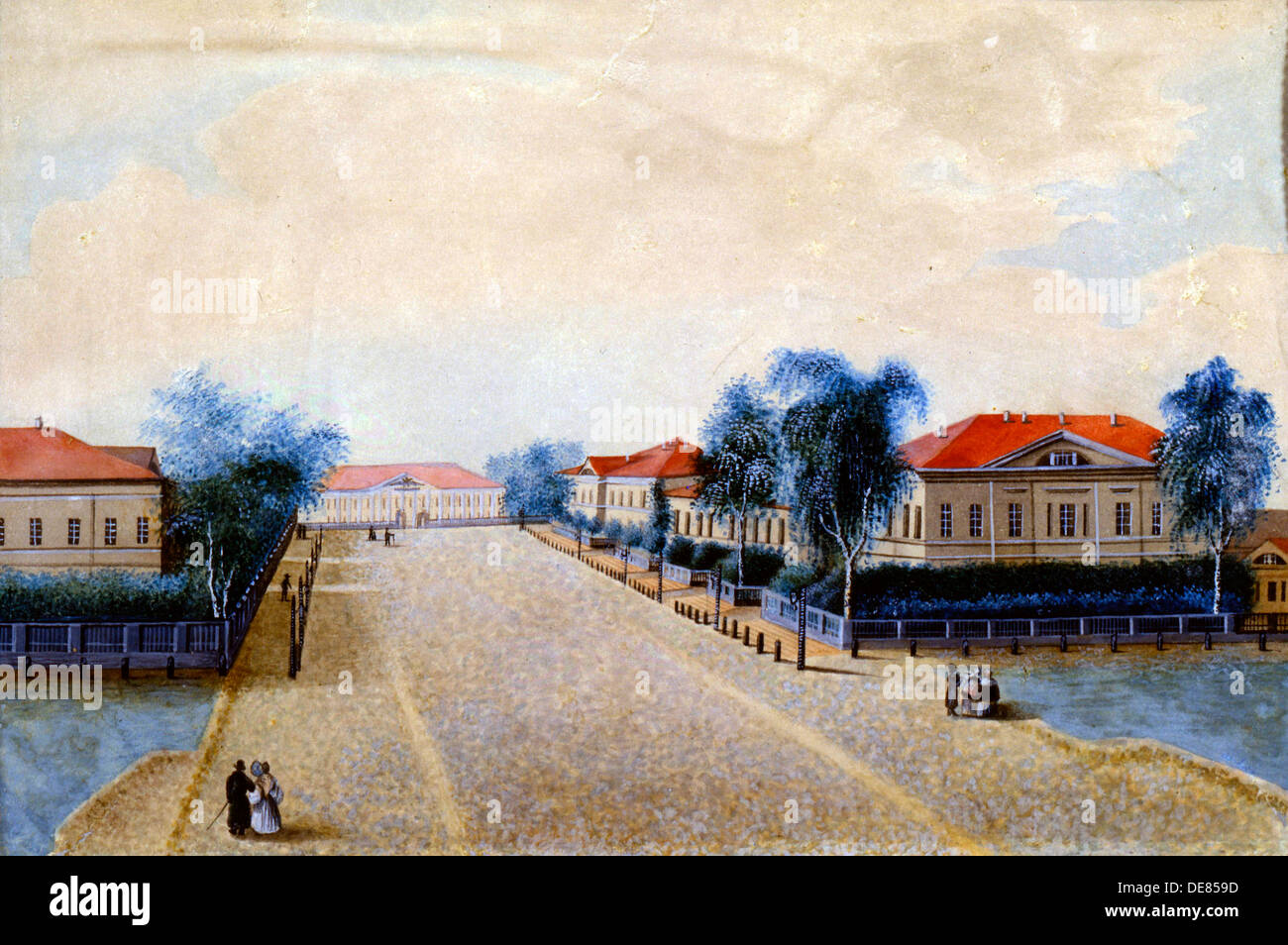 'View of the Treasury in Tver', 1830s. Artist: Russian Master - Stock Image