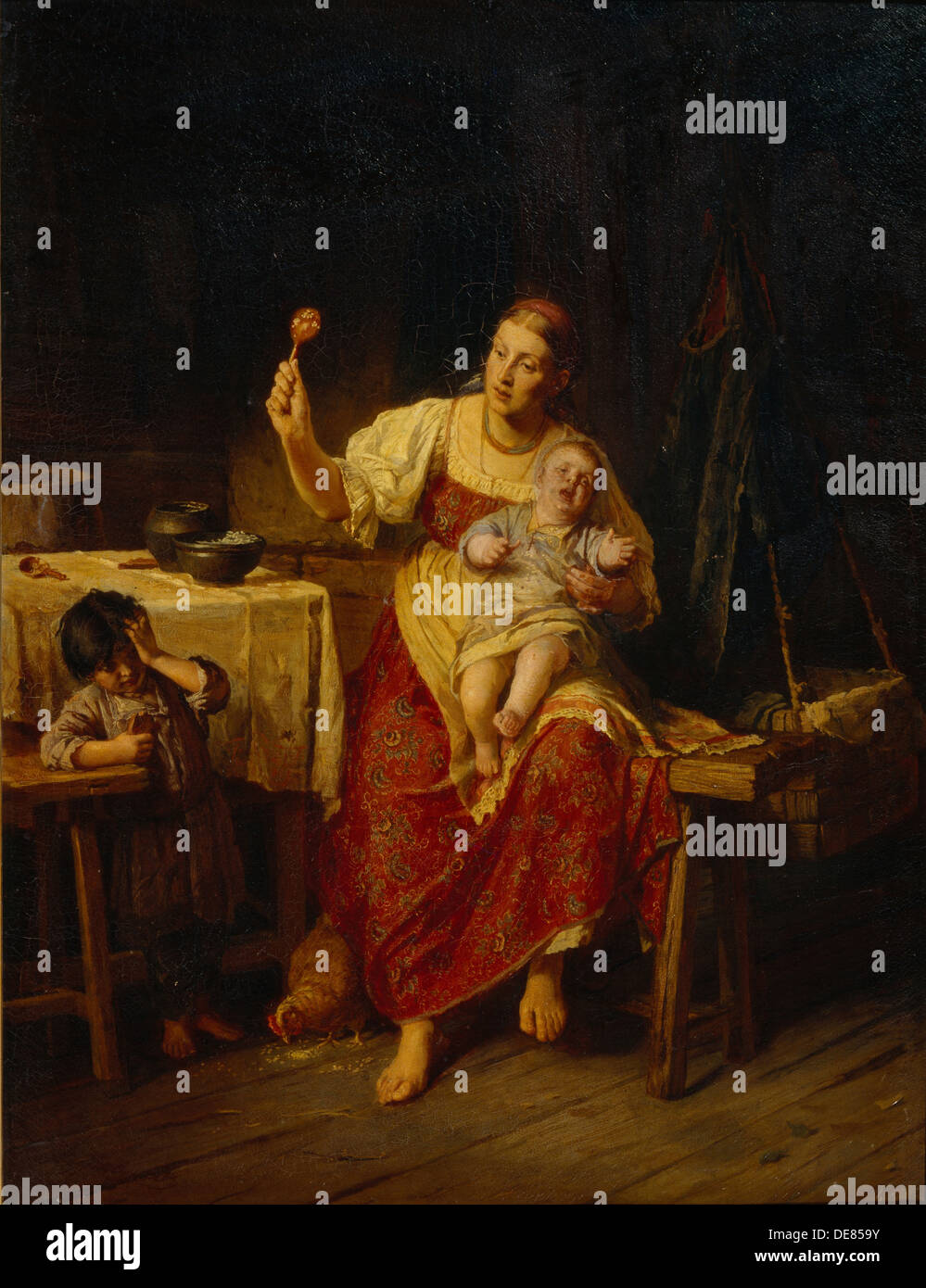 The Stepmother, 1874. Artist: Zhuravlev, Firs Sergeevich (1836-1901) - Stock Image