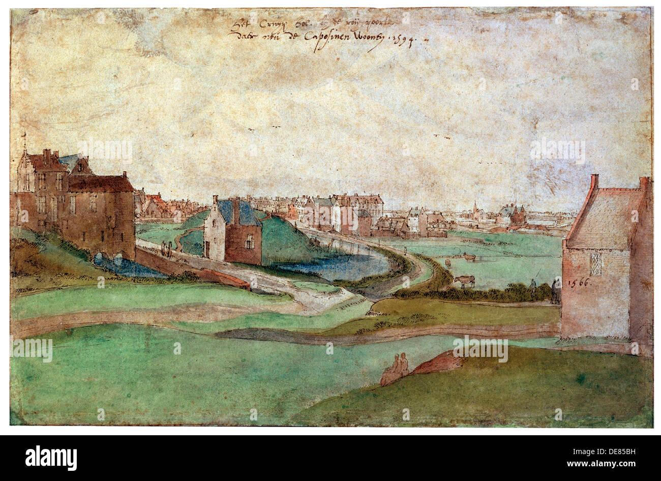 'Landscape near Antwerp', 1566.  Artist: Gillis Mostaert - Stock Image
