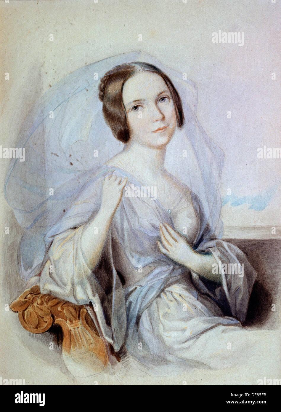 'Portrait of the singer Henriette Gertrude Sontag', 19th century. Artist: Johann Nepomuk Ender Stock Photo