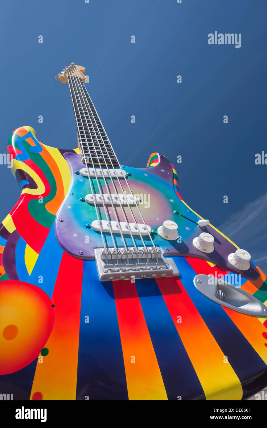 TIME WARP STRATOCASTER SCULPTURE (©PAT DOWNEY / PETE GONZALES 2012) ROCK AND ROLL HALL OF FAME DOWNTOWN CLEVELAND OHIO USA - Stock Image