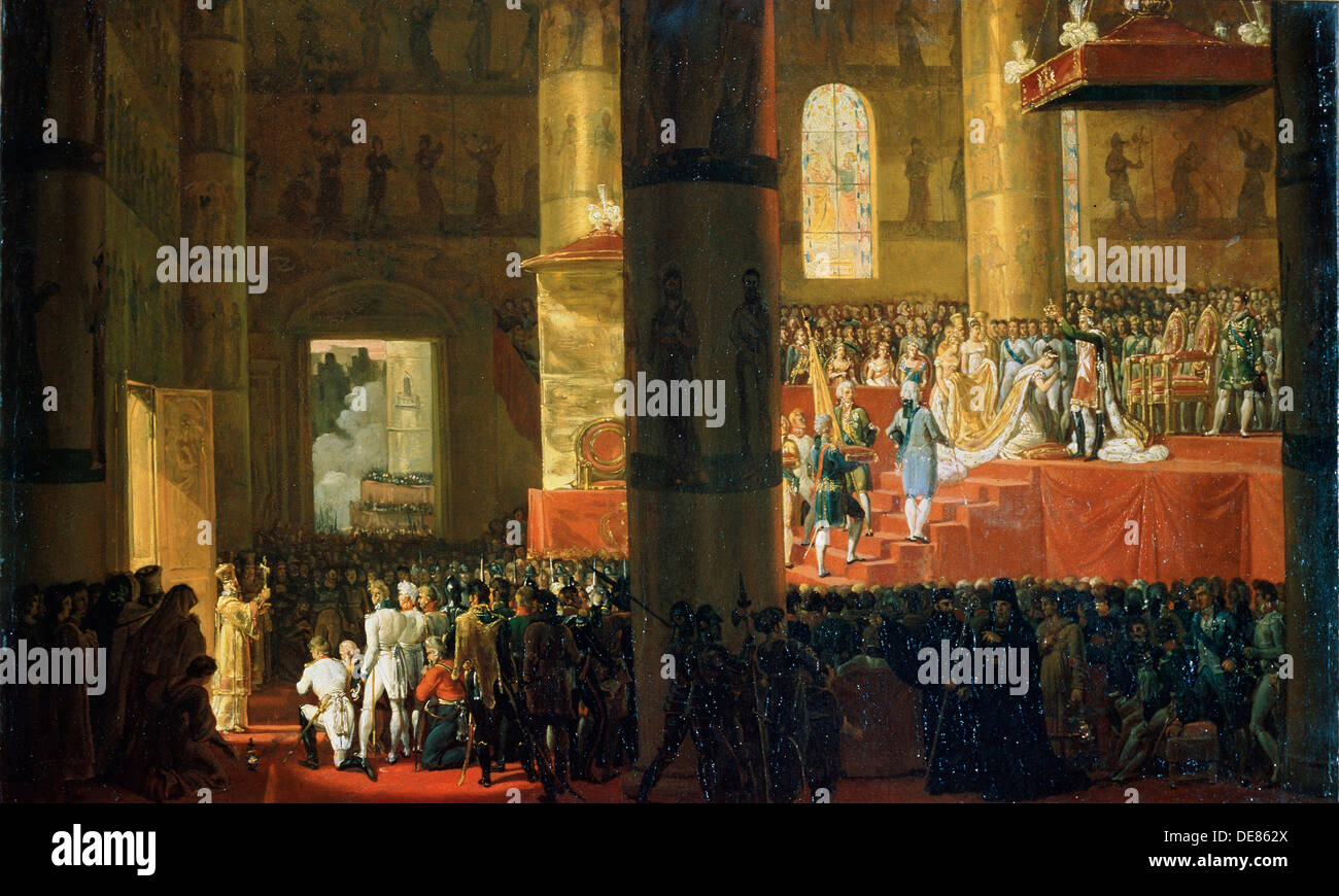 'The Coronation of the Empress Maria Feodorovna on 5th April 1797', 19th century. Artist: Horace Vernet - Stock Image