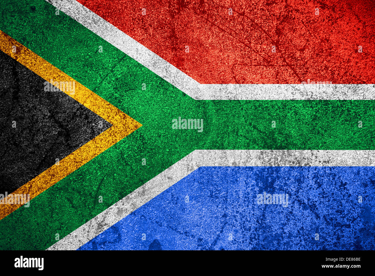 Republic of South Africa flag or RSA banner on rough pattern iron background - Stock Image