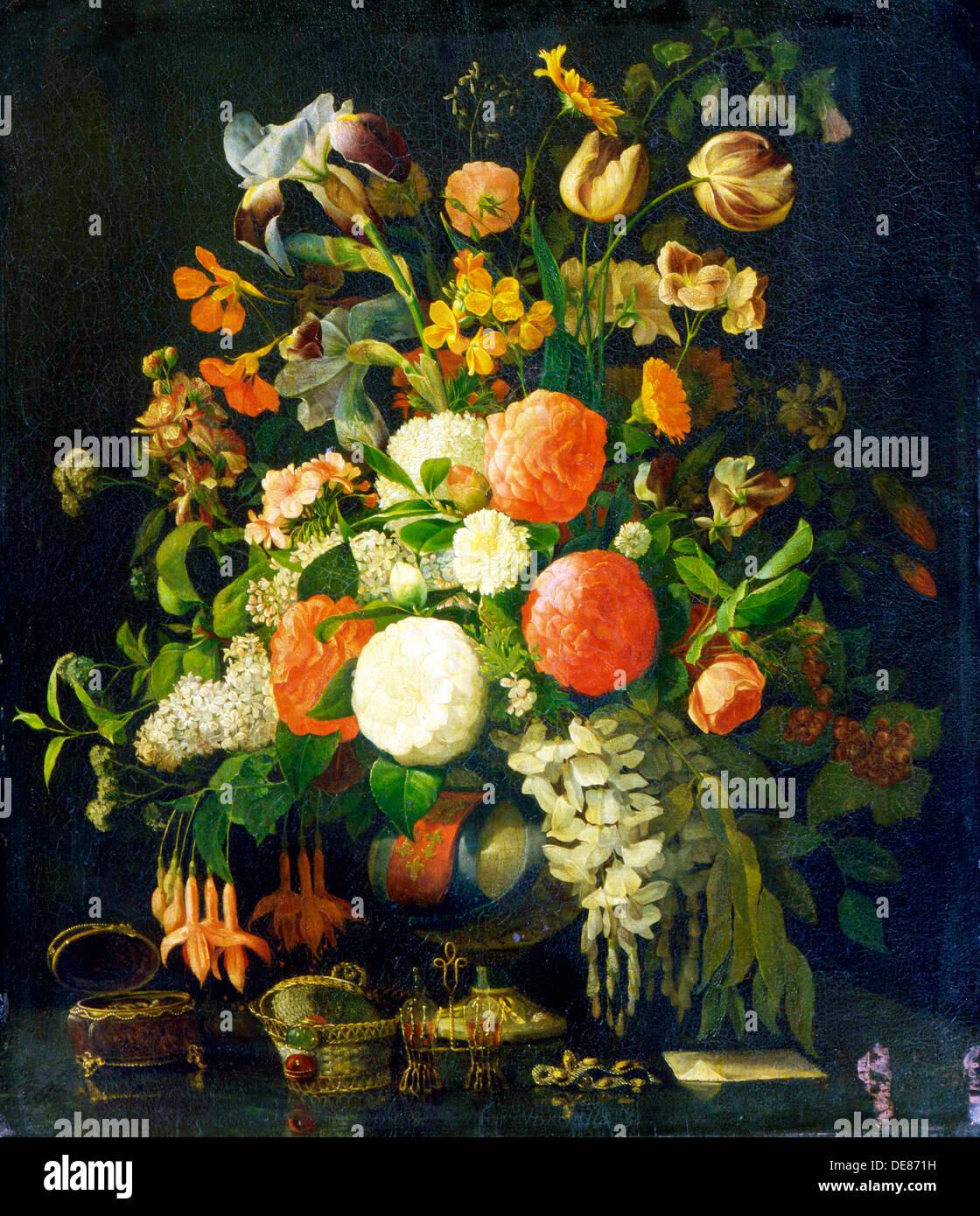 'Flowers', 18th century. Artist: Rachel Ruysch - Stock Image