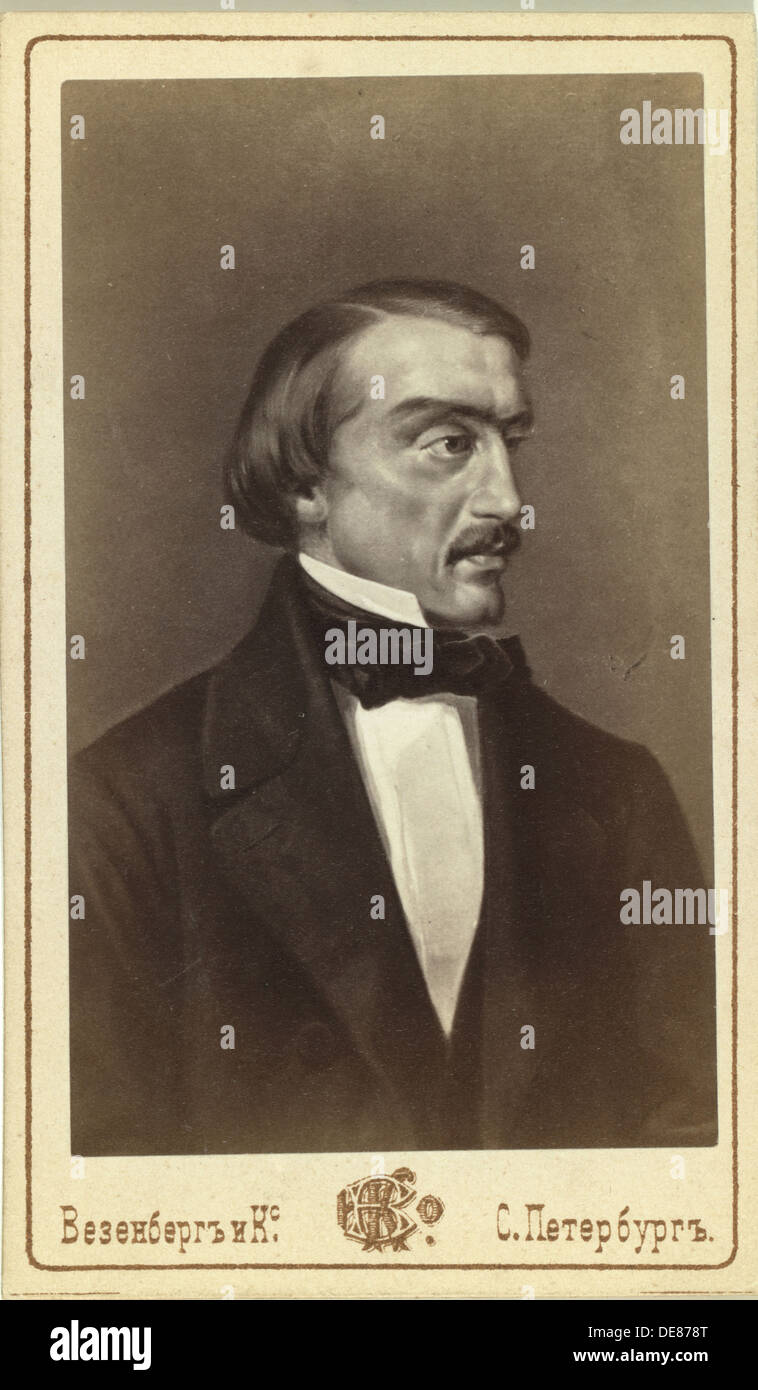 Portrait of the Literary critic and Philosopher Vissarion G. Belinsky (1811-1848). Artist: Anonymous - Stock Image