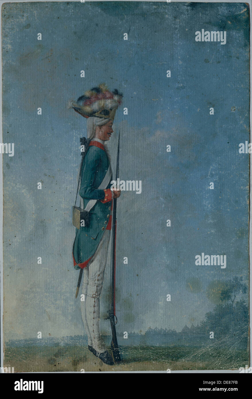 Grenadier of the Preobrazhensky Regiment, End of 1770s. Artist: Anonymous - Stock Image
