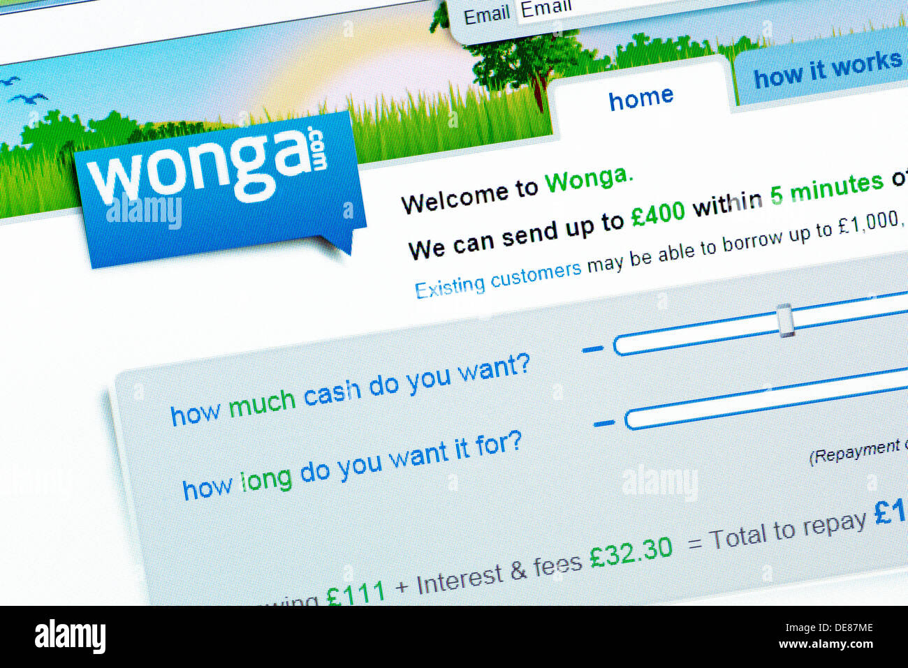 Wonga.com. Website of the Payday Loan Company. Wonga.com offer short term high interest credit to consumers and businesses. - Stock Image