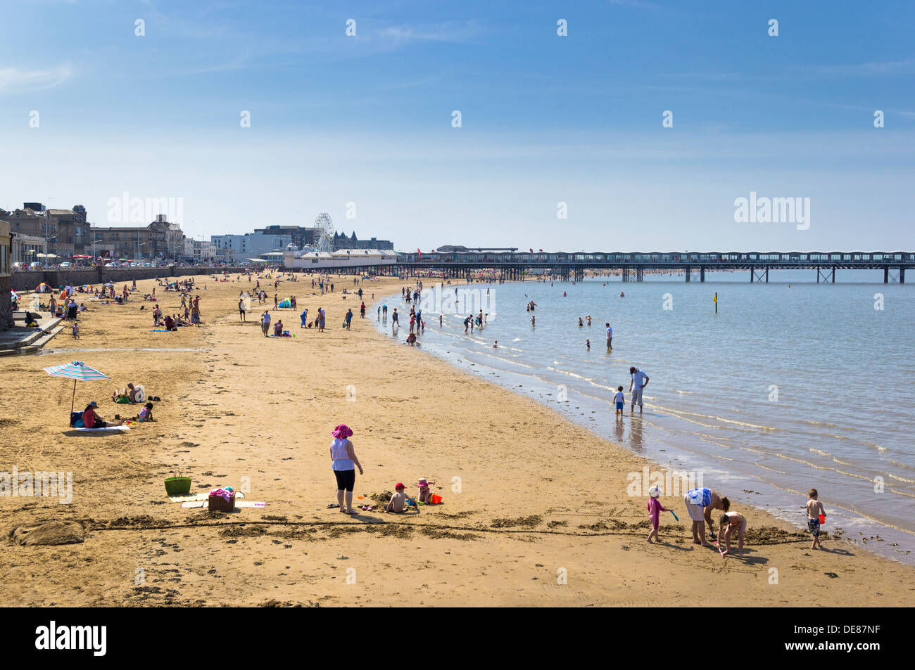 Beach UK - the seaside beach Weston Super Mare, Somerset, UK - Stock Image