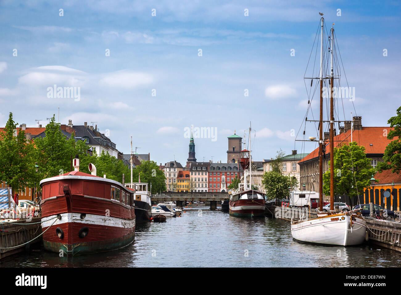 Copenhagen, Denmark, in the view of Christians Brygge Frederiksholms channel - Stock Image