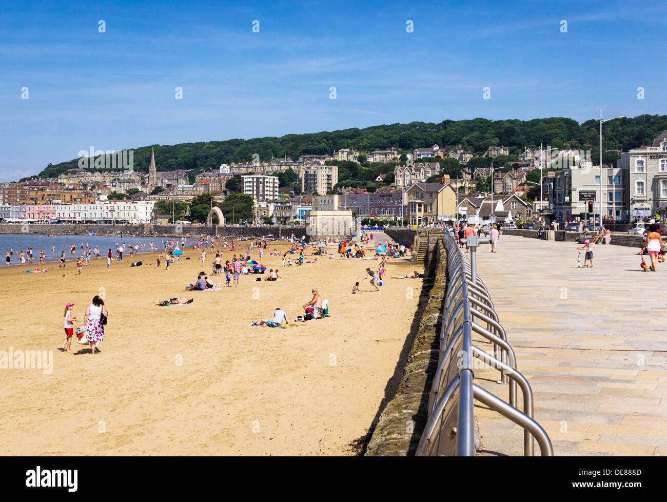 Weston-Super-Mare beach and promenade in summer, Somerset, UK - Stock Image