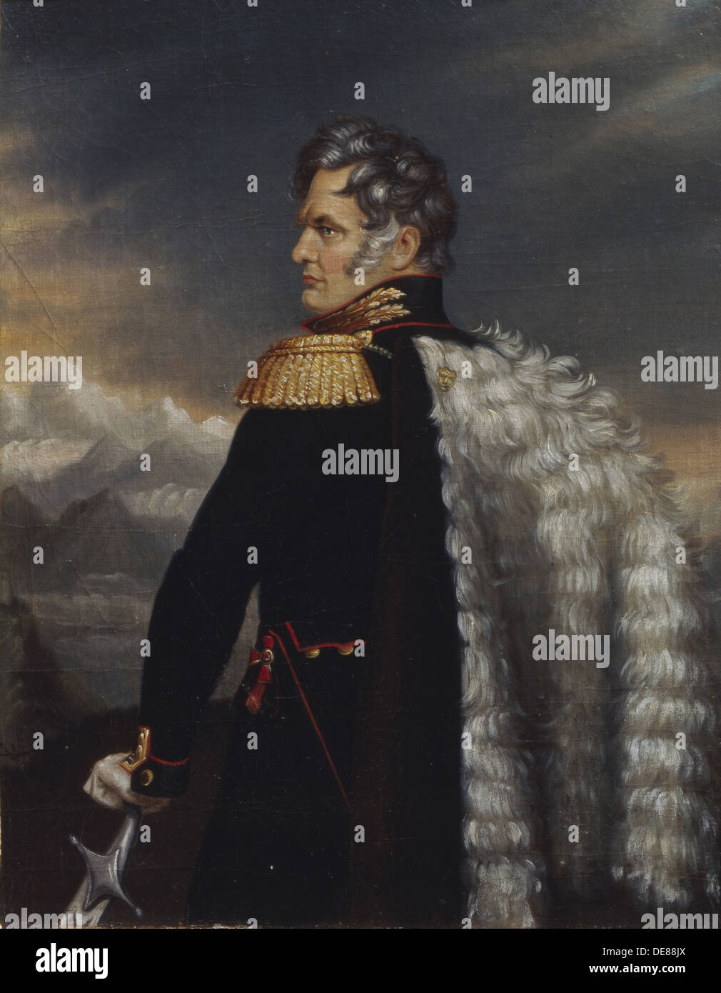 Portrait of the commander-in-chief of the Russian Army on the Caucasus Aleksey Yermolov (1777-1861), 1825. Artist: Anonymous, 18 - Stock Image