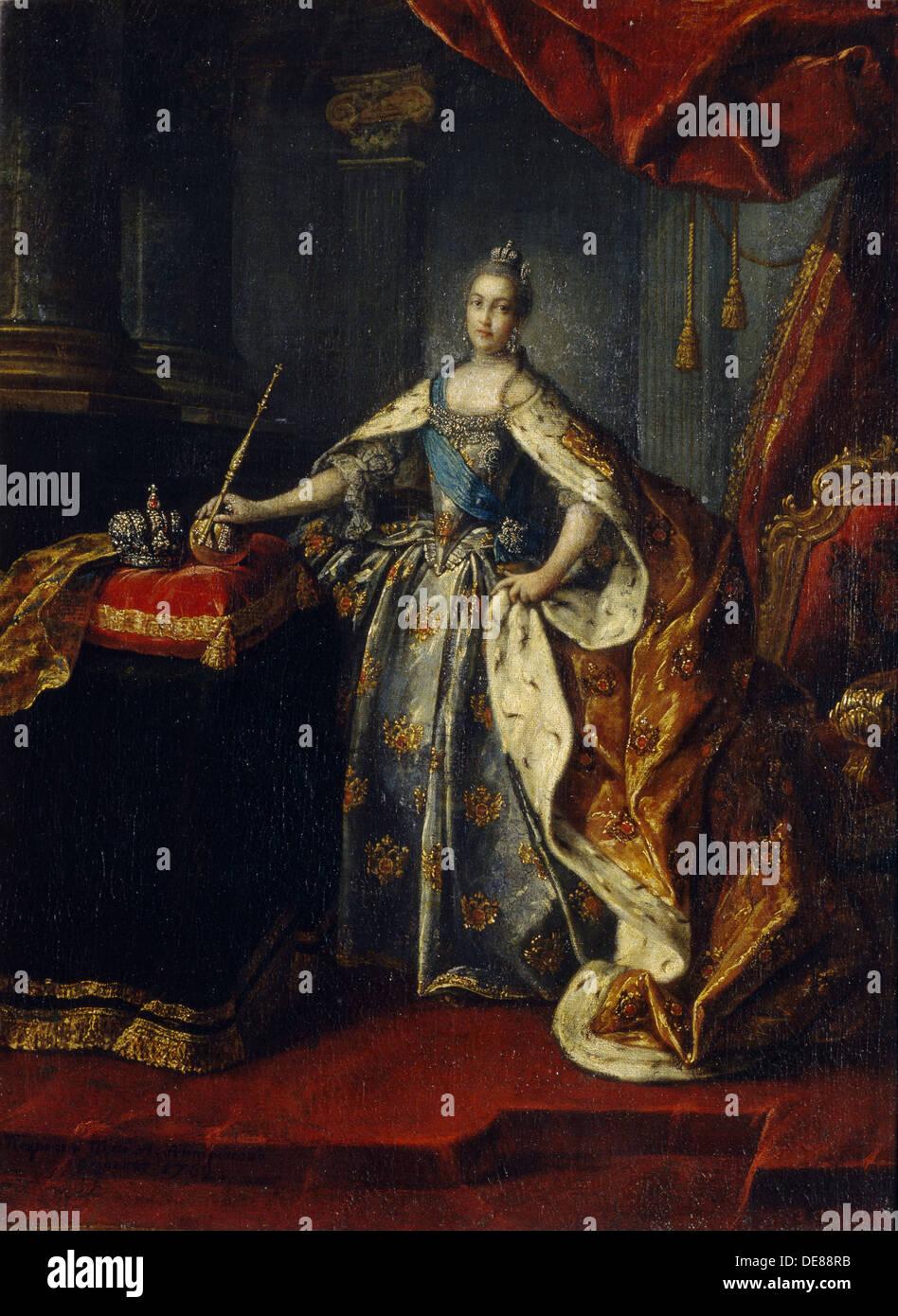 Portrait of Empress Catherine II (1729-1796), 1762. Artist: Antropov, Alexei Petrovich (1716-1795) - Stock Image