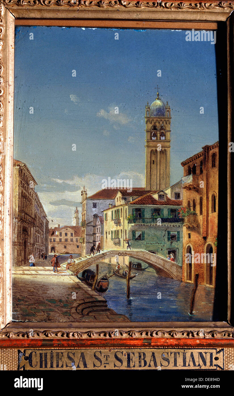 'The Church of San Sebastiano', 19th century.  Artist: Victor Adam Stock Photo