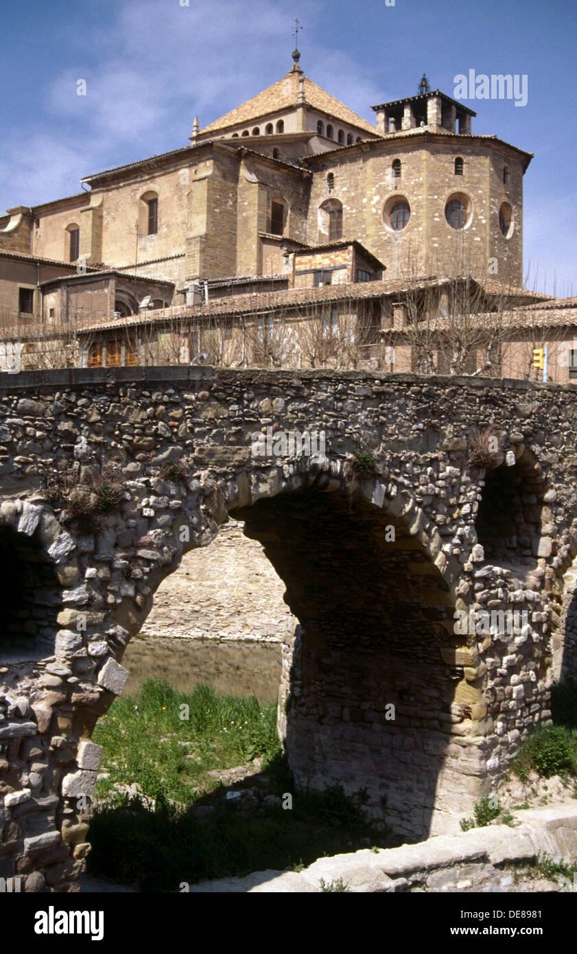 Queralt bridge (11th century). Vic. Spain Stock Photo