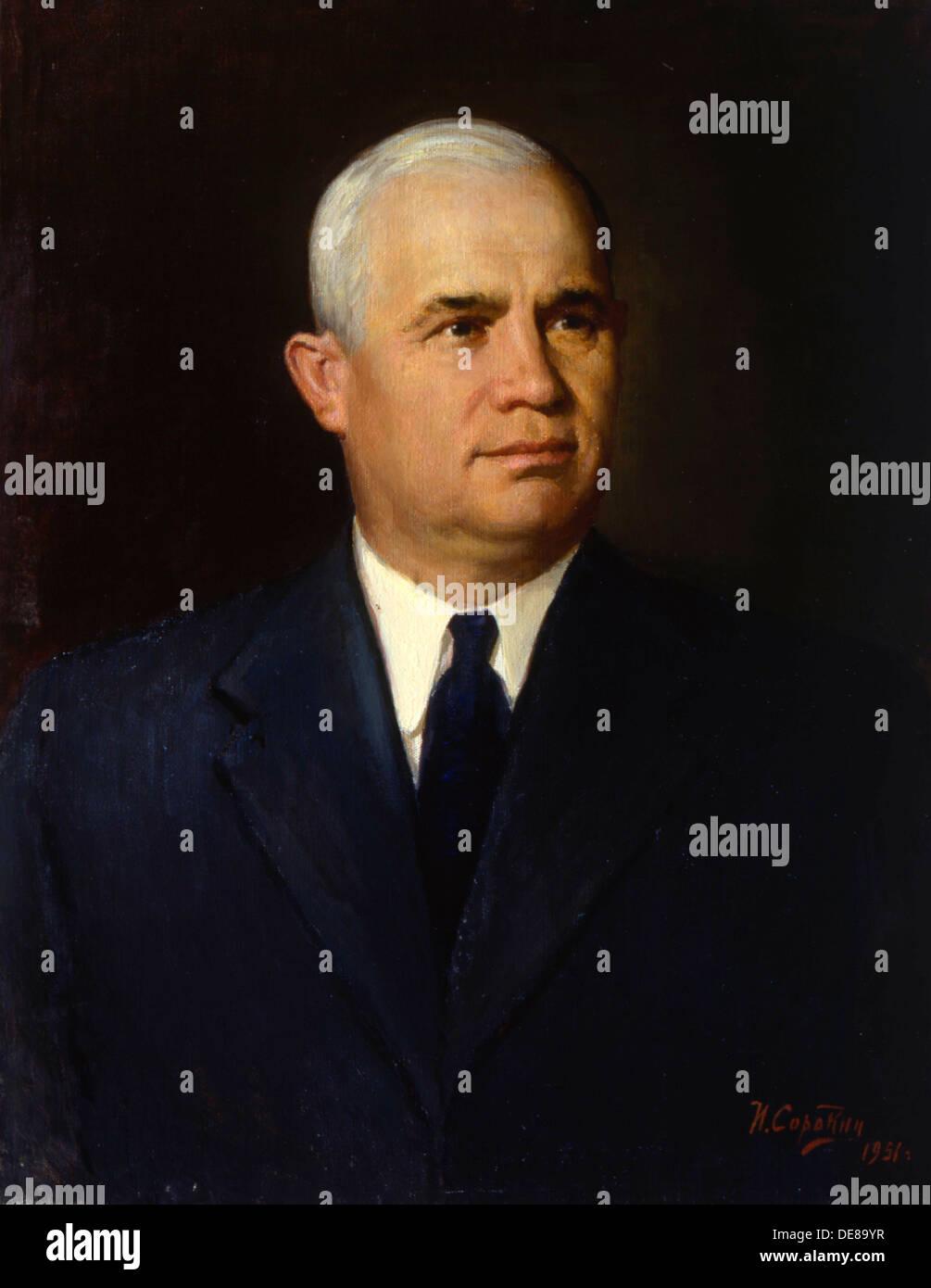 'Portrait of the Politician Nikita Sergeyevich Khrushchev', 1951. Artist: Ivan Semyonovich Sorokin - Stock Image