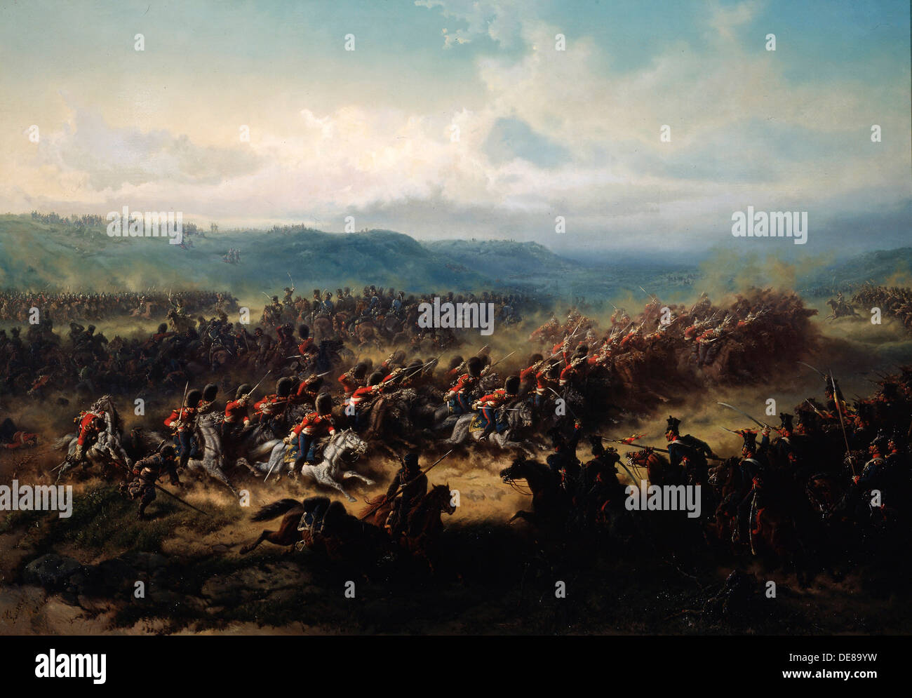 'Charge of the English Light Brigade at the Battle of Balaclava on 25 October 1854', 19th century.  Artist: Friedrich Kaiser - Stock Image