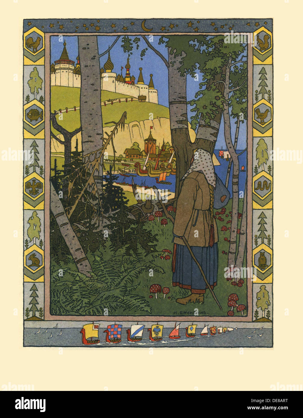 Illustration for the Fairy tale The Feather of Finist the Falcon, 1901-1902. Artist: Bilibin, Ivan Yakovlevich (1876-1942) - Stock Image