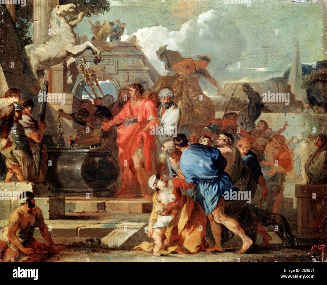 'Augustus before the Tomb of Alexander the Great', 17th century.  Artist: Sébastien Bourdon - Stock Image