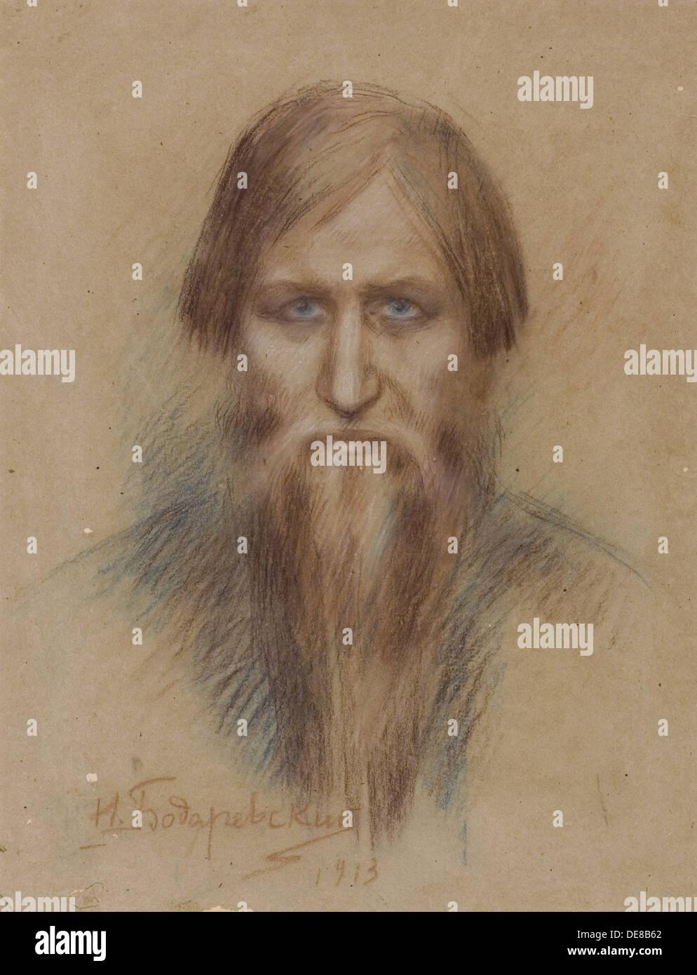 Portrait of the Russian mystic Grigory Rasputin (1869-1916), 1913. Artist: Bodarevsky, Nikolai Kornilovich (1850-1921) - Stock Image