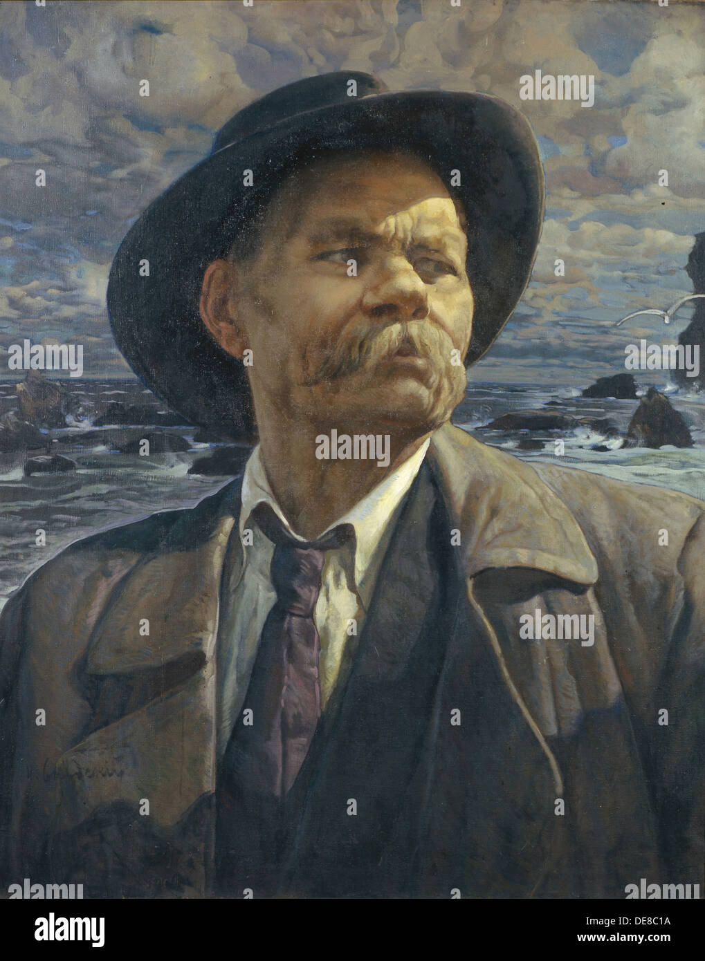 Portrait of the author Maxim Gorky (1868-1939), 1936. Artist: Brodsky, Isaak Izrailevich (1884-1939) - Stock Image