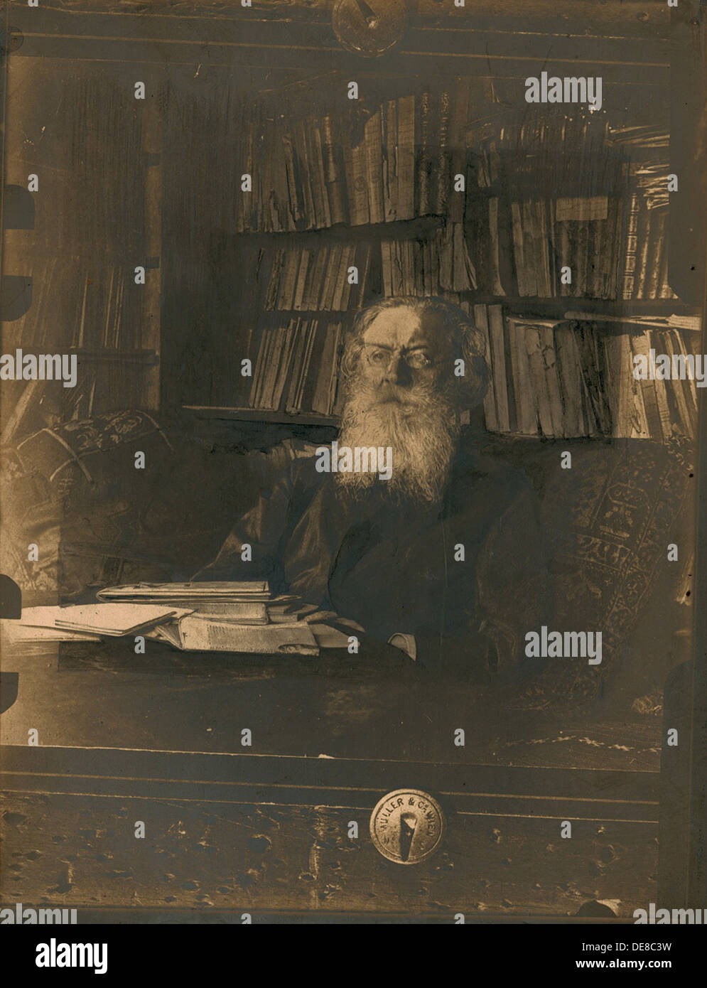 Theorist of narodism, philosopher, publicist, and sociologist Pyotr Lavrov (1823-1900). Artist: Anonymous - Stock Image