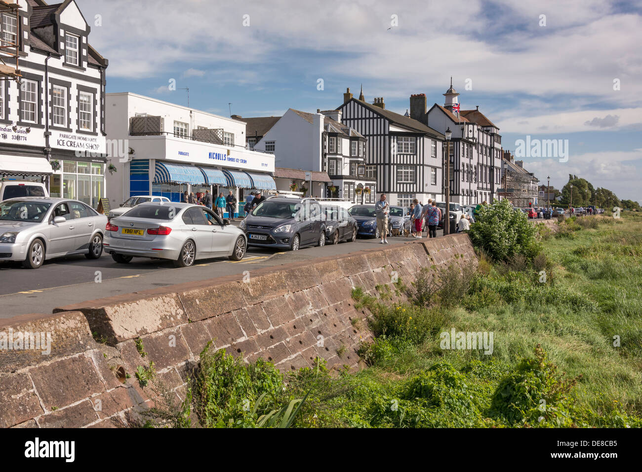 The seafront at Parkgate on the Wirral in Cheshire. Cheshire's only coastal resort. - Stock Image