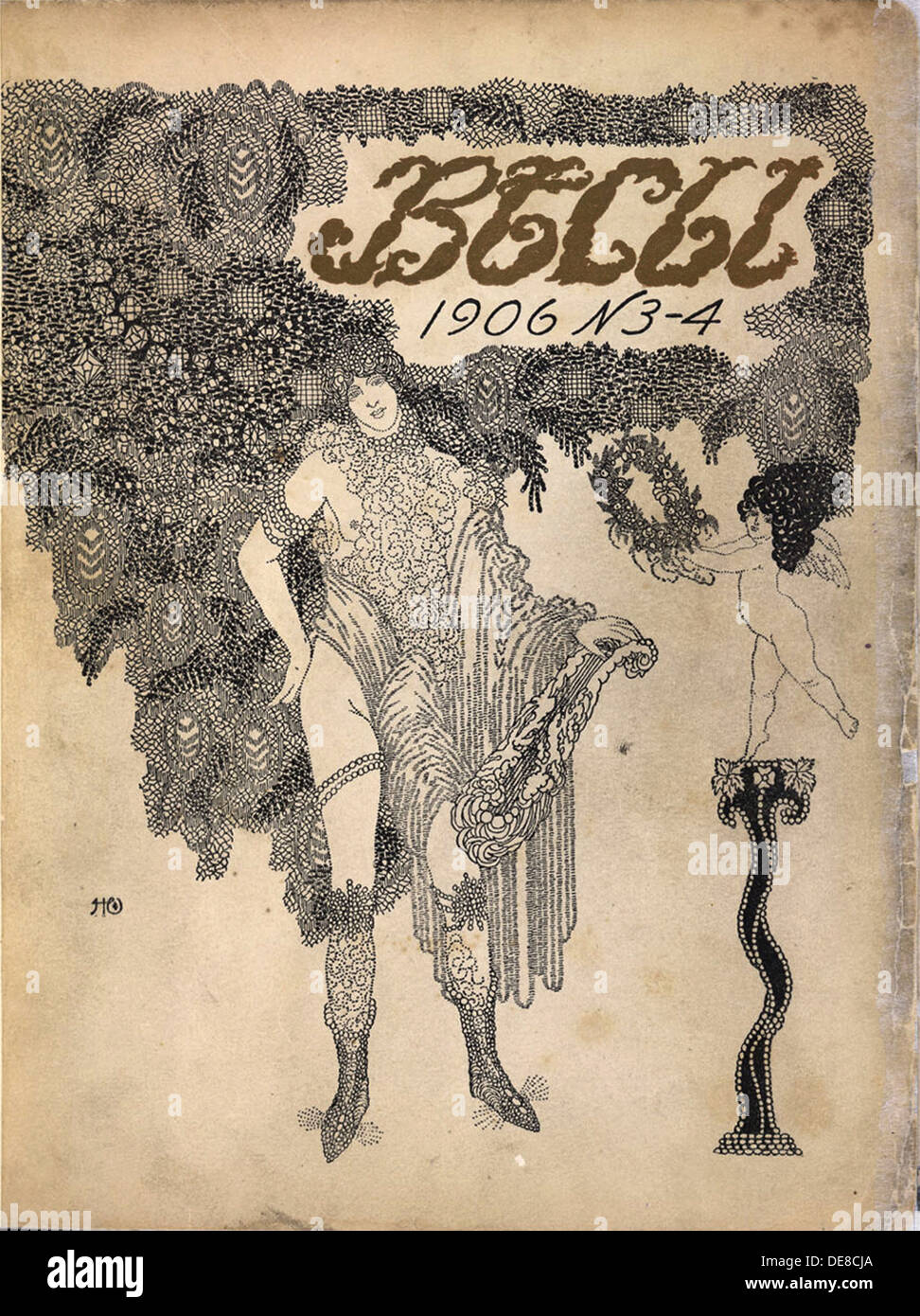 Cover of the Symbolist magazine Vesy (The Balance), 1906. Artist: Feofilaktov, Nikolai Petrovich (1878-1941) - Stock Image