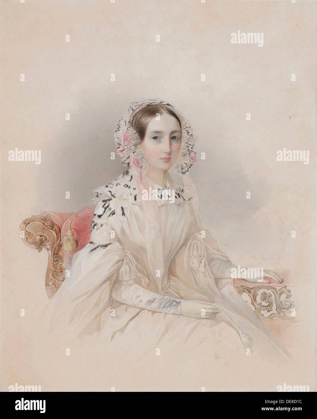 Portrait of Princess Therese of Nassau-Weilburg (1815-1871), 1838. Artist: Hau (Gau), Vladimir Ivanovich (1816-1895) Stock Photo