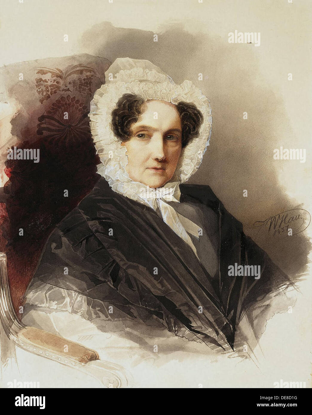 Portrait of Countess Anna Vladimirovna Bobrinskaya (1769-1846), 1837. Artist: Hau (Gau), Vladimir Ivanovich (1816-1895) Stock Photo